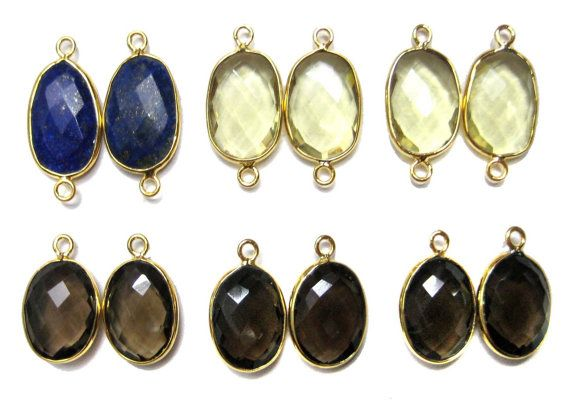 12 pieces of 24kt Gold Plated Bezel Connector by finegemstone, $65.00