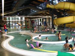 Mt Scott Community Center. 5530 SE 72nd Ave.  Whirlpool, waterslides, basketball court, roller skating.