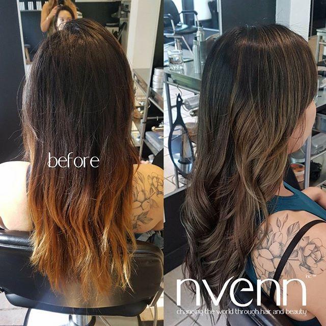 #tbt to this lovely mahogany BALAYAGE and BABYLIGHT.    #hairinspo #nvennhairbeautybar #edmonton #calgary #yychair #yeghair #hairpro #salonpro #darkbalayage