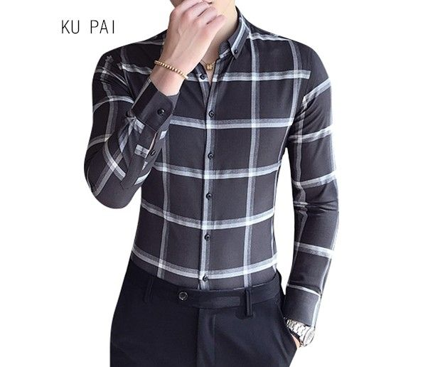fe0fc6f6f6e Long Sleeve Shirt Men s Fall Business Casual Plaid Shirt Young Slim Men s  Korean Free Hot Tide