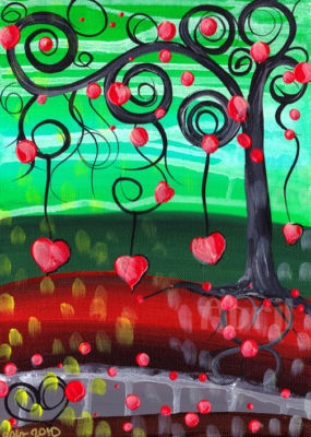 Wonderful variation on the funky trees every place does! Great for a young  group to enjoy! February Class Wine art Painting Party Hearts red