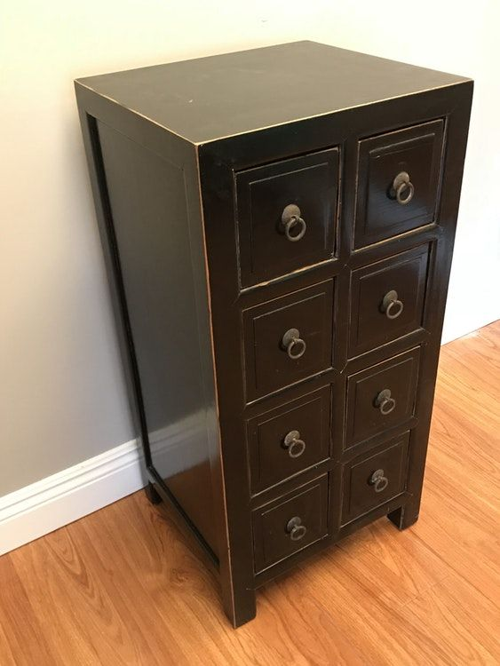 Apothecary Style Black Chest With Small Drawers