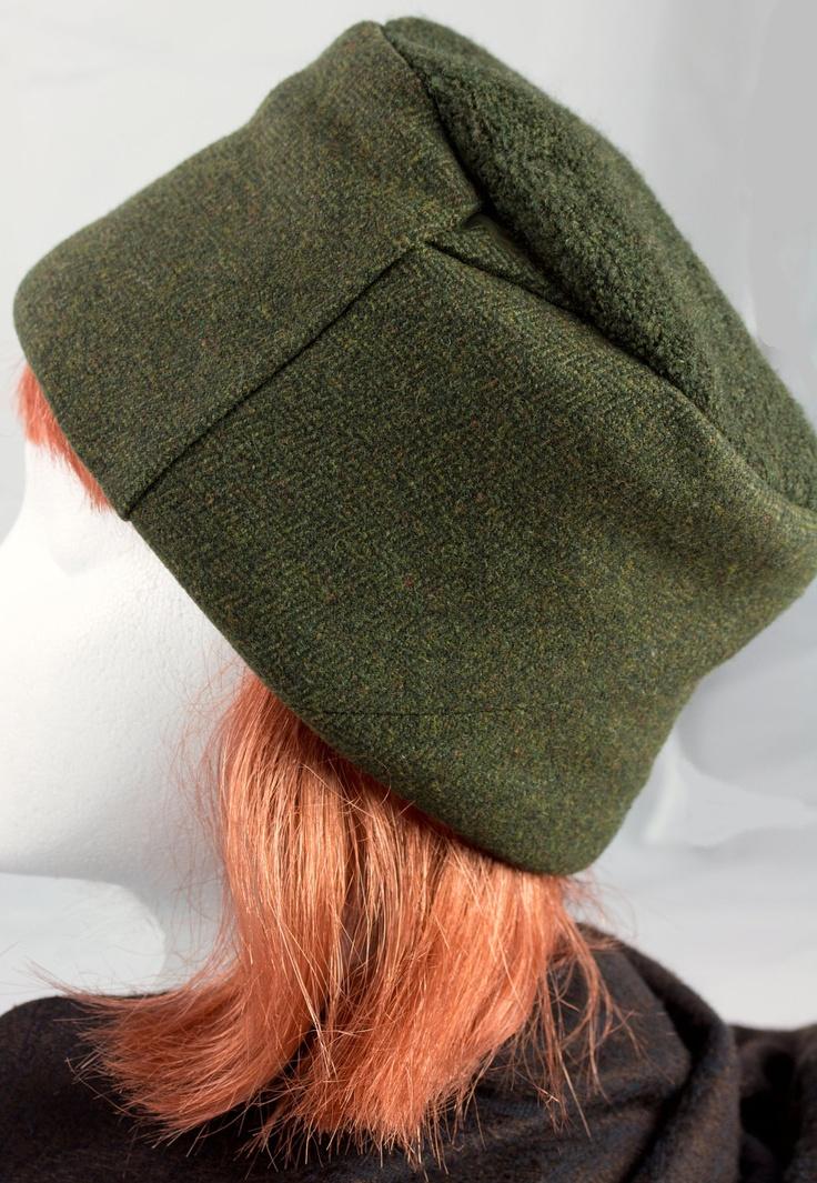 Brown/Green Tweed Slouch Hat -