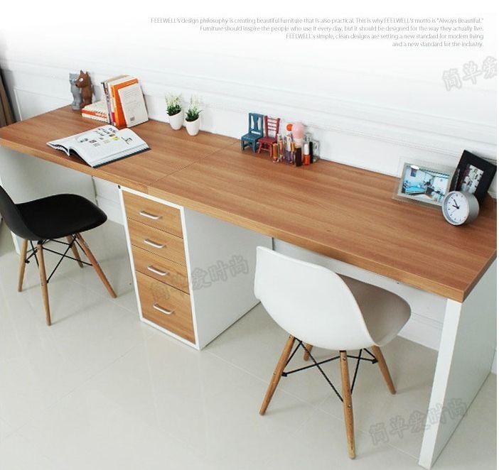 Doble larga mesa escritorio de la computadora de escritorio en casa escritorio de la computadora minimalista moderno del escritorio con cajones IKEA en Mesas de Escritorio de Escuela y Oficina en AliExpress.com | Alibaba Group