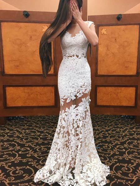 Elegant Bateau Cap Sleeves Sweep Train White Lace Sheath Homecoming Dress with Appliques