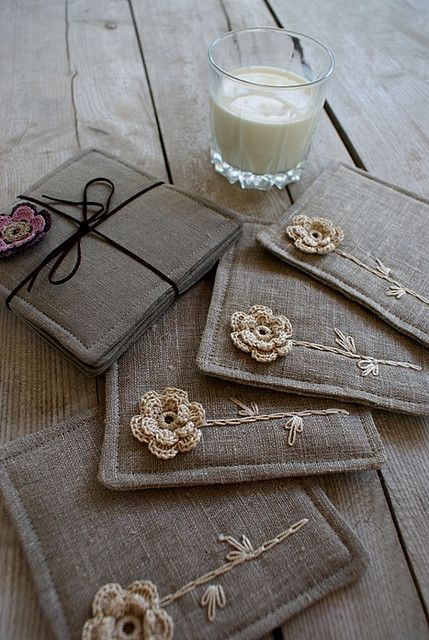 fabric coasters with crochet flower appliques and embroidery
