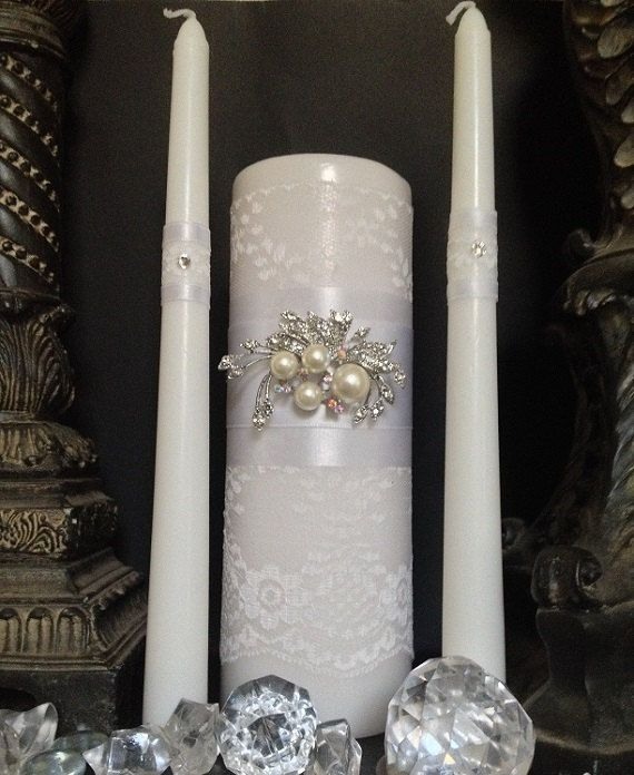 Unity Candle Set. White lace covered pillar with by BridesKiss