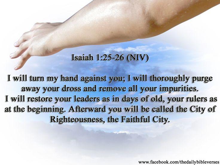 isaiah 1 | Daily Bible Verses: Isaiah 1:25-26
