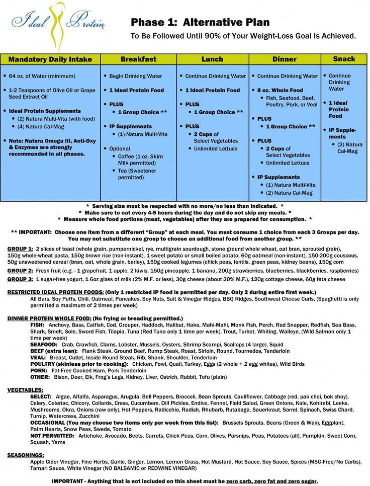 IP Phase 1 Alternative Plan (900 Calories) (protein
