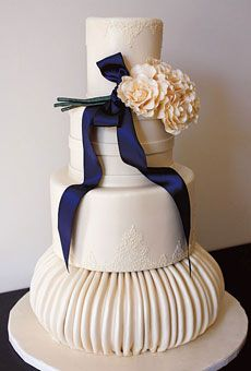 Cake Shape: Round Or Oval  Color: Blue, White/Ivory  Decorations: Flowers, Textured, Ribbons And Bows