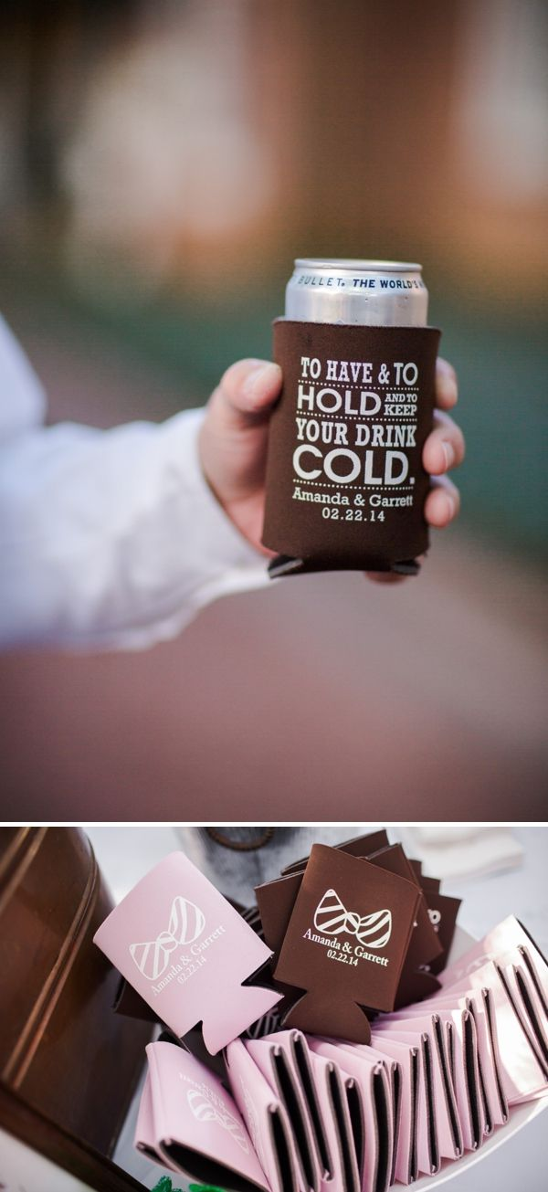 "DIY Wedding // custom wedding drink cozies! ""to have and to hold and to keep your drink cold"". image: Woodland Fields Photography"