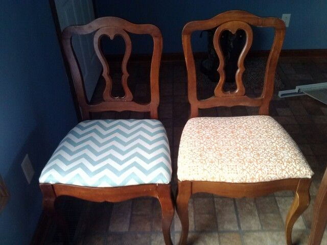 Re -upholstered dinning room chairs