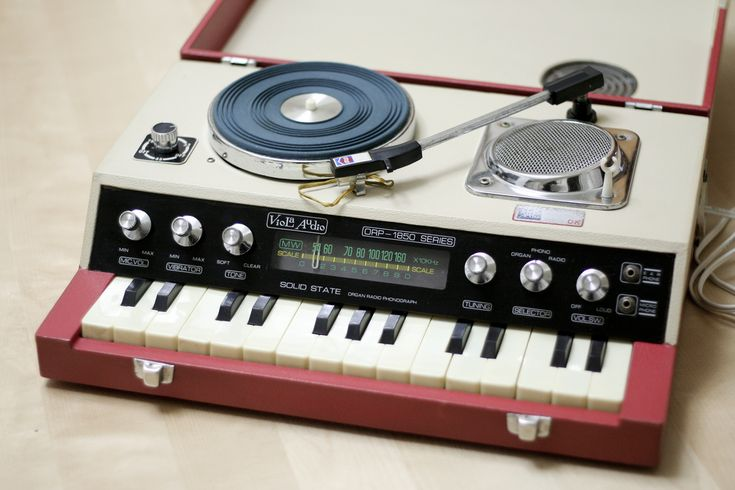 Vintage electronics. Turn Table / Synth / Synthesizer / Recorder / Retro Audio.