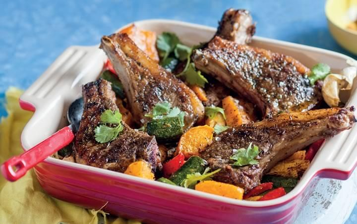 Moroccan lamb chops with roasted vegetables