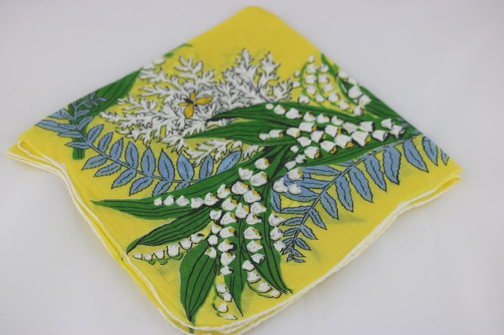Vintage Floral Handkerchief, Lily of the Valley, Flower Girl Handkerchief, Yellow Wedding, Vintage Wedding Decor, Wedding Favors for Guests by SecondActShop on Etsy