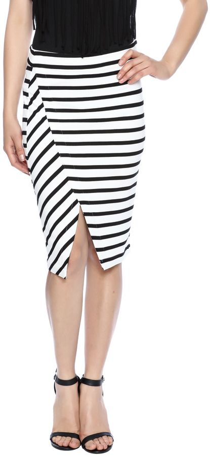 Cupcakes & Cashmere Ponte Striped Pencil Skirt
