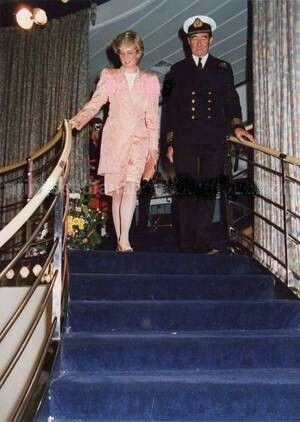 April 29, 1987: Princess Diana, at Cunard's QEII Party, on board the QEII at Southampton. Princess Diana wearing The peach silk suit she wore Japan 1986.