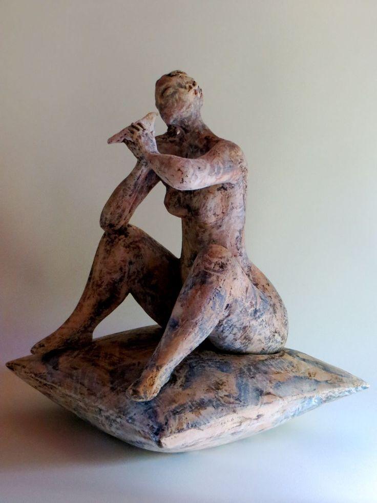 "Ingrid Dusselberg, ""Softness of Song"", 54x34x34cm, ceramic, coloured slips"