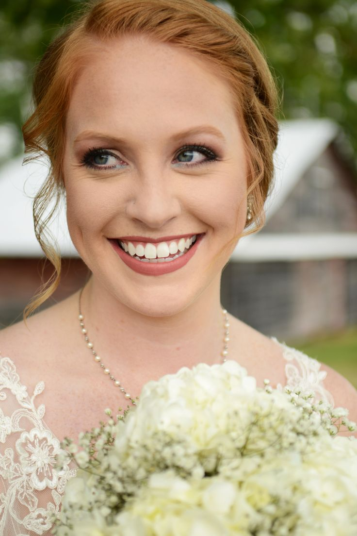 Bridal makeup for redheads - hydrangea and baby's breath bouquet.