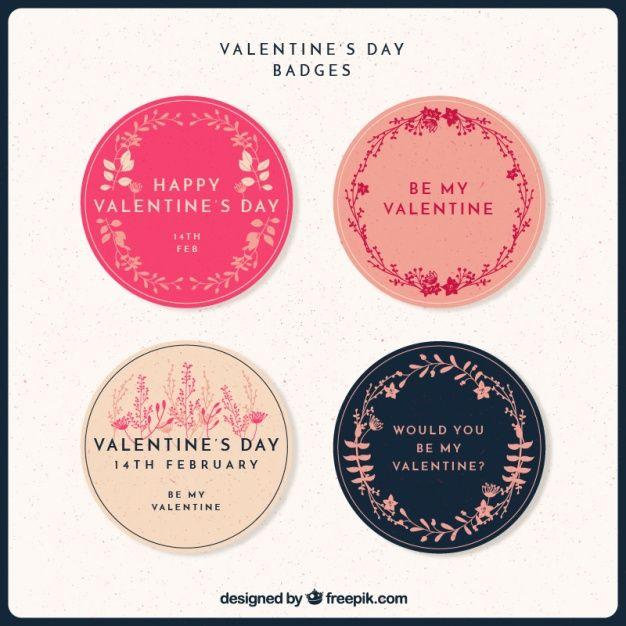 adesivi rotondi floreali pacco per il giorno di San Valentino vettore libero