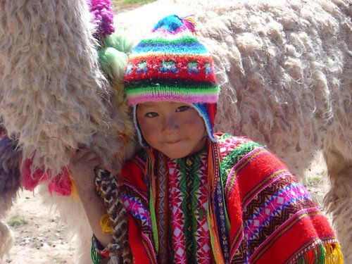 Cute little Peruvian boy in colorfull traditional clothing with his Alpaca