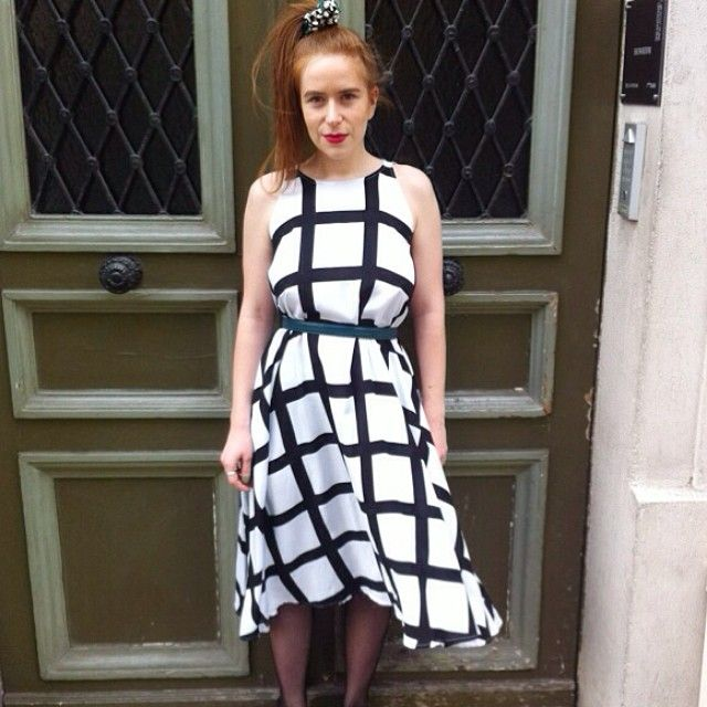 Chloé in France wears the Nathalie Du Pasquier Gaza Print Rayon Tent Dress! #AmericanApparel