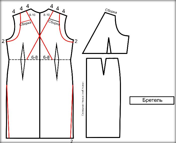 Выкройка спинки платья в греческом стиле для свадьбы