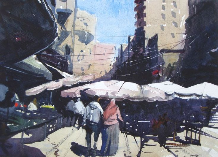 """#Watercolor of #Alexandria #Egypt.  Market Scene, 15"""" x 11"""" on Saunders Waterford Rough."""