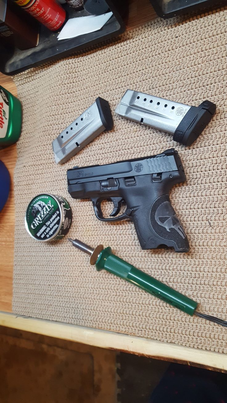 S&W M&P Shield 9mm. Custom hand stipple job. PUNISHER stippling. Smith & Wesson m&p shield