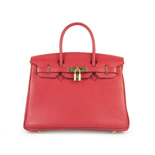 Hermes Red 25CM Birkin Clemence Leather Bag With Gold HW Product Model: Hermes Birkin 25CM  Availability: In Stock  Color: Red / Gold  Material: Calf Leather  Size: W25×H18×D13CM  Package: Hermes dust pouch, padlock, keys and key ornaments  Shipping: Free Price: $219