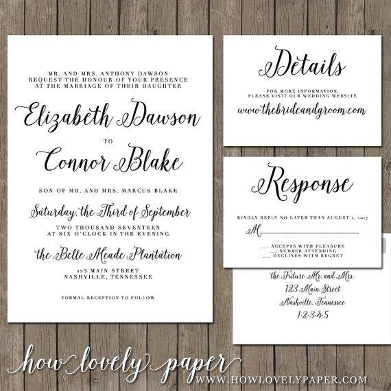Printable Wedding Invitation Suite the Georgina by HowLovelyPaper105 best Wedding invitations images on Pinterest   Printable  . Nashville Wedding Invitations. Home Design Ideas