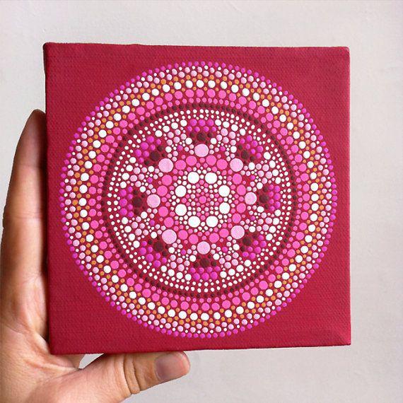 Pink and Red Mandala Painting on Canvas - 5 x 5 Original Painting - Geometric Modern Art