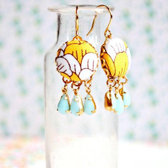 Little Yellow Chandelier Earrings by NestPrettyThingsShop on Etsy, $25.00