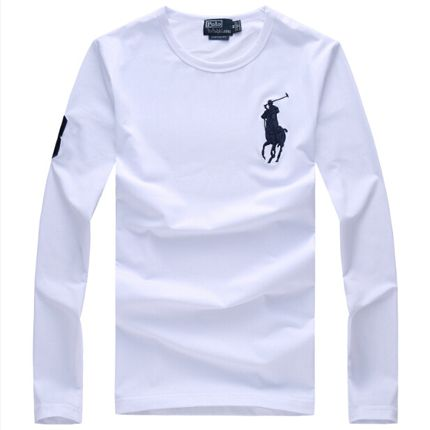 Men's Polo Ralph Lauren Long-Sleeve Cotton Round Collar T Shirt - White