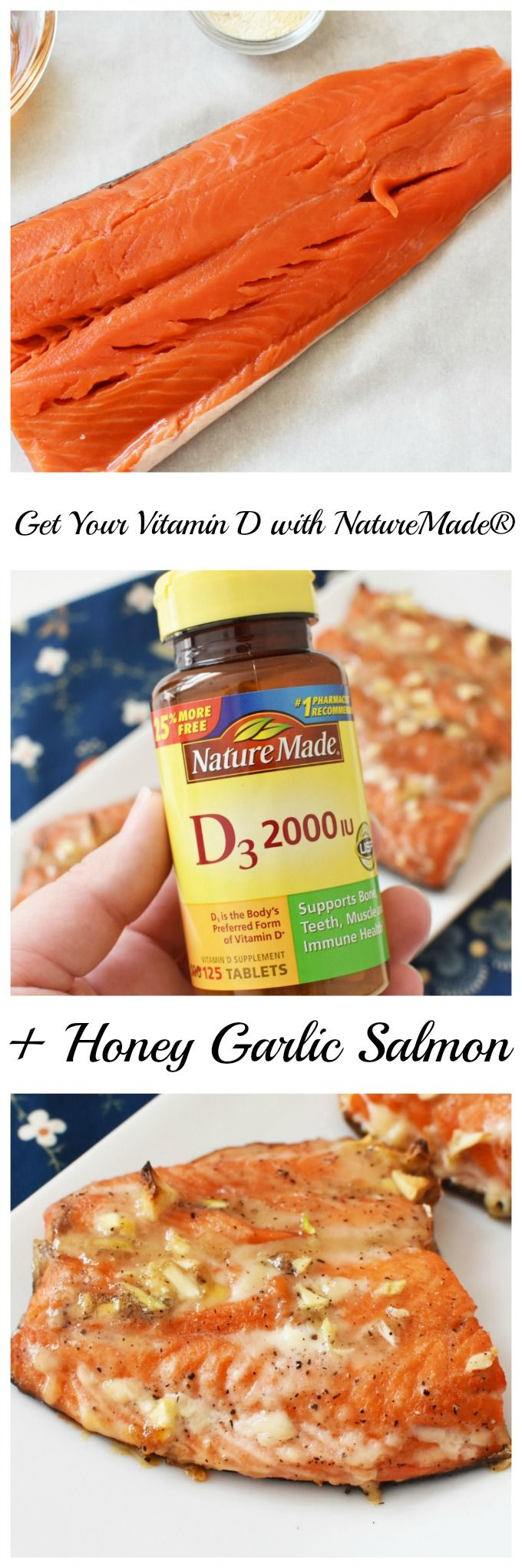 Be sure you get enough Vitamin D this winter. Start with this Honey Garlic Salmon recipe. It's loaded with flavor and Vitamin D. Also see how you can add a supplement to your daily life.