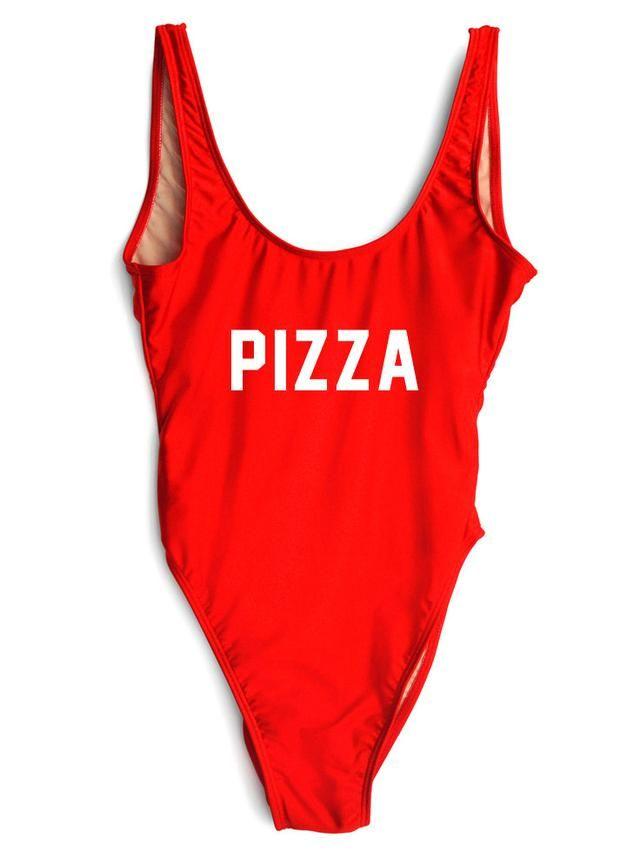 PIZZA One-Piece Slogan Swimsuit