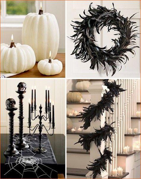 Schwarz-weiße Halloween Party Deko Ideen federkranz