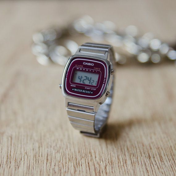 Vintage Casio Mini Digital Watch in Maroon & Silver by Nakedglory, $75.00