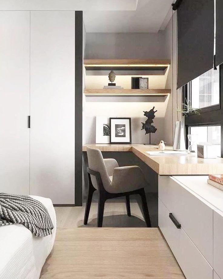 Удобный и красивый рабочий уголок в спальной комнате 👍 дизайн