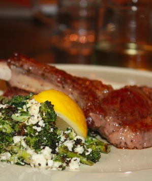 Lamb Chops with Roasted Broccoli and Feta (2011) #monthofdinners http://www.realsimple.com/food-recipes/browse-all-recipes/lamb-chops-roasted-broccoli-00100000066528