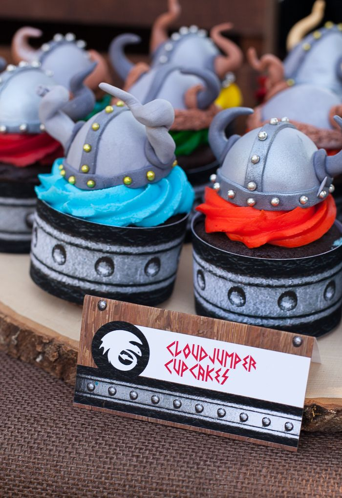 How to Train Your Dragon party Viking helmet cupcakes