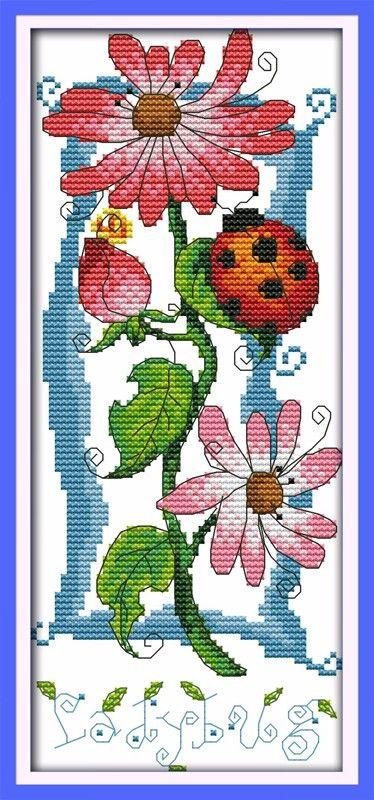 Звук цветы ( 3 ) хлопок животных крестом наборы 14ct белое 11ct вышивка DIY ручной игла работа стены домашнего декора купить на AliExpress