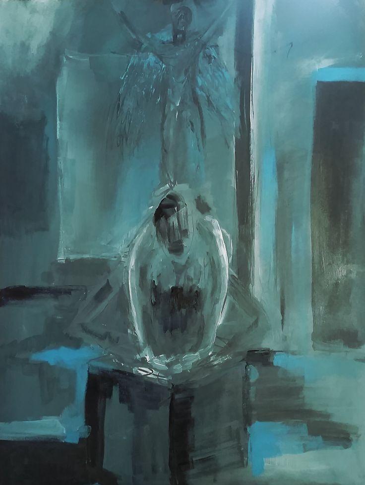 Angel painting, blue painting, Painting Acrylic on canvas 60x80cm by Elena Ci on Pinterest http://it.pinterest.com/87elleci