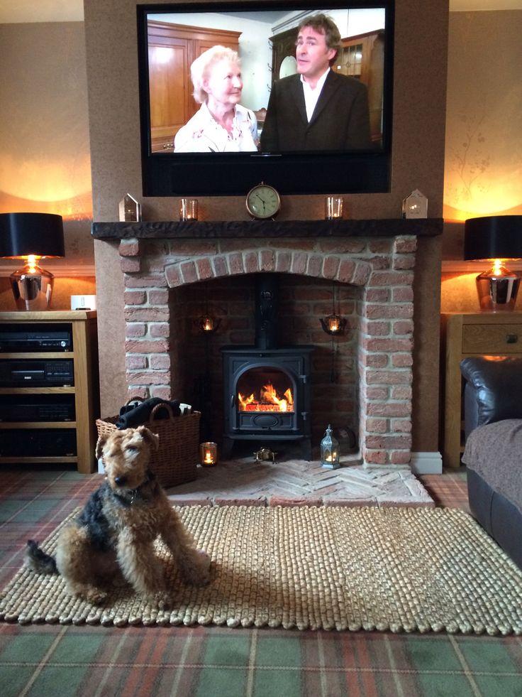 Stovax Stockton 5 Stove.  - Brick built fireplace (Yorkshire Stoves custom built arched brick lintel) - Brick herringbone hearth