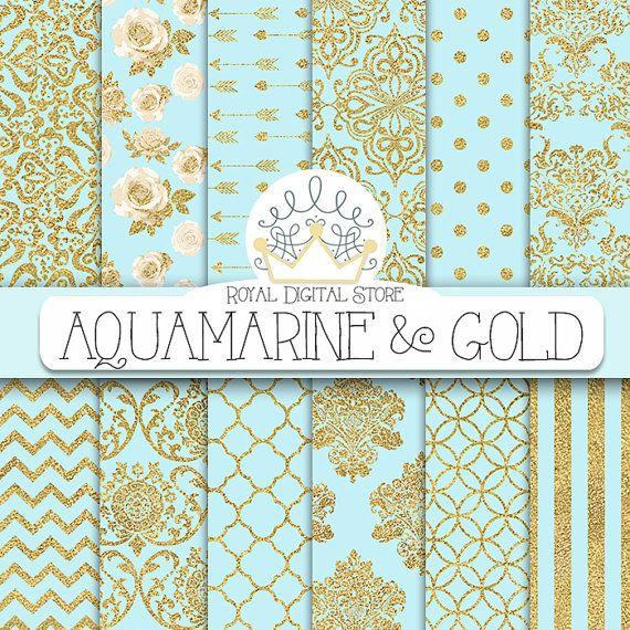 """Aqua blue digital paper: """"AQUAMARINE & GOLD"""" with aqua blue and gold background, aqua blue scrapbook paper for scrapbooking, cards, wedding #gold #damask #digitalpaper #scrapbookpaper #wedding"""