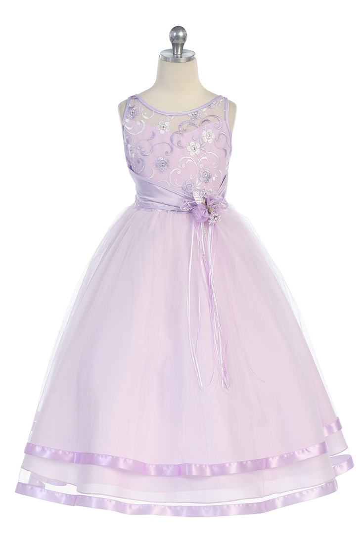 Click to enlarge : Lavender Full-length Sequined Flower Embroidered Bodice Flower Girl Dress