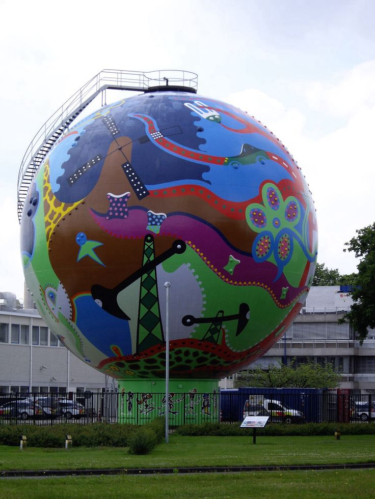 Gasbol De Stip, Emmen, Drenthe. This is a huge.....uhm...Globe filled with Gas. We felt like decorating it. I think it turned out well. (In the Netherlands, turning large buildings and objects into art is a common thing.)