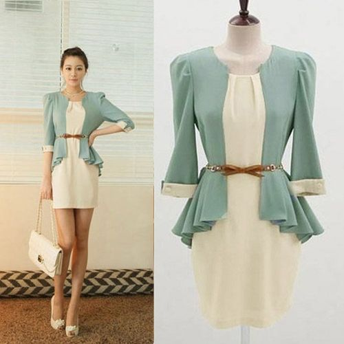 Women's Korean Fashion Office Dress OL 3 4 Sleeve Chiffon Skirt Dress   eBay