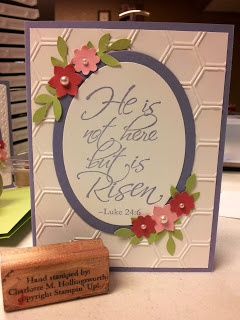 Easter Framed He is risen Honeycomb embossing folder using Stampin Up by Charlotte Hollingsworth at www.stampingismytherapy.blogspot.com