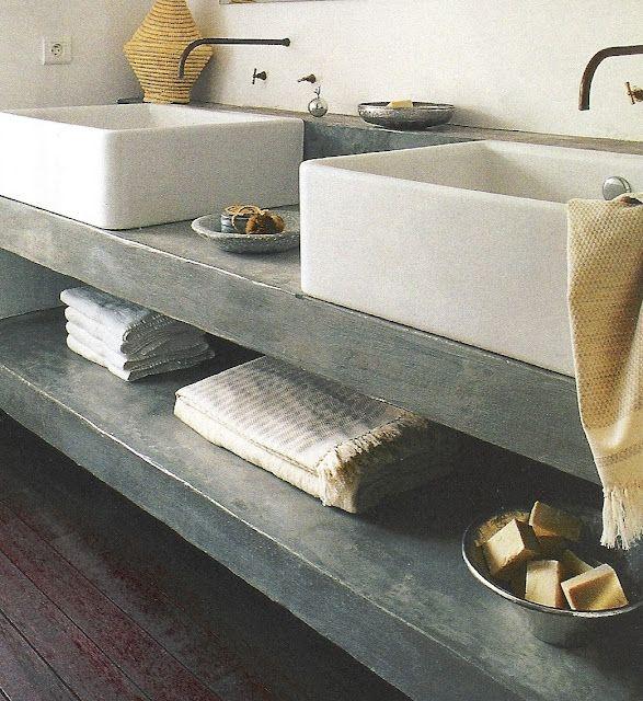 Cement Countertops And Open Shelf Farm House Concrete Bathroom